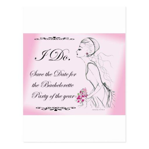Pink elegant Bachelorette Party Design Post Card
