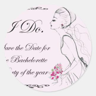 Pink elegant Bachelorette Party Design Stickers