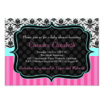 Pink, Elegant, Damask Baby Shower Invitation Custom Announcements