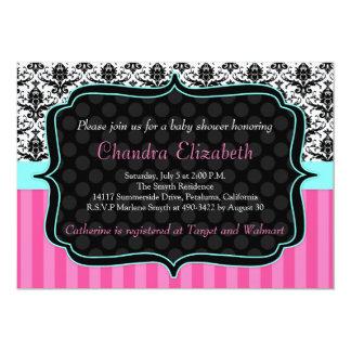 Pink, Elegant, Damask Baby Shower Invitation