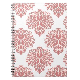 Pink Elegant Damask Spiral Note Book