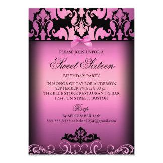 Pink Elegant Damask Sweet Sixteen Party Invitation