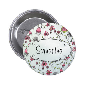 Pink Elegant flowers with frame for name 6 Cm Round Badge