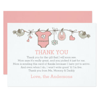 Pink elegant girl clothes thank you BABY SHOWER Card