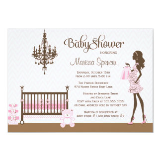 Pink elegant nursery baby girl shower invitation
