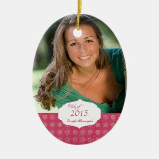 Pink elegant pattern graduation photo ornament