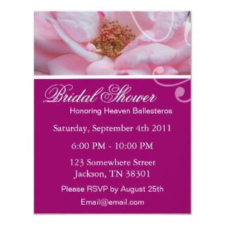 Pink Elegant Rose Bridal Shower Invitations