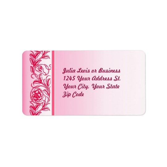 pink elegant roses ornament custom address labels