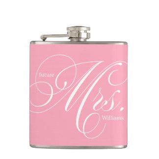 Pink Elegant Script Future Mrs Hip Flask