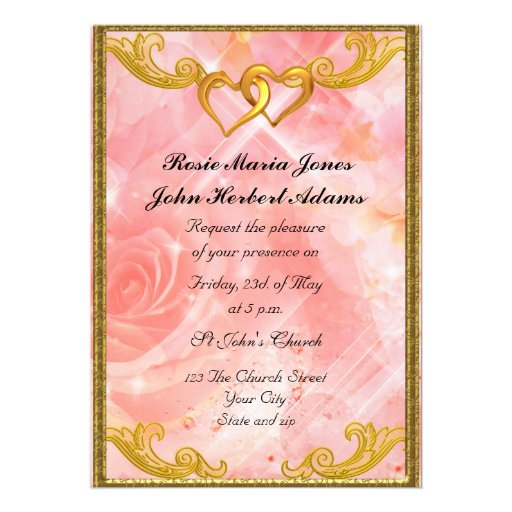 Pink Elegant Simple Wedding Invitation Zazzle