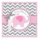 Pink Elephant and Chevron Print Baby Shower 13 Cm X 13 Cm Square Invitation Card