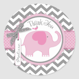 Pink Elephant and Chevron Print Thank You Round Sticker