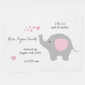 Pink Elephant Baby Birth Stats Announcement Girl Baby Blanket