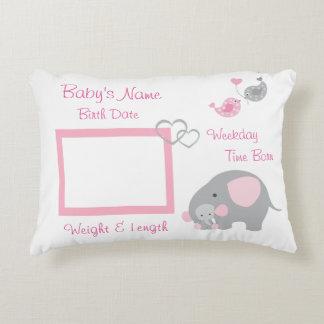 Pink Elephant Baby Girl Birth Stats Photo Nursery Decorative Cushion