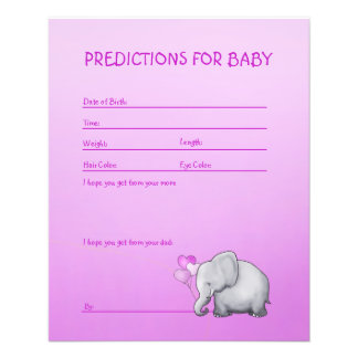 Pink Elephant Baby Girl Shower Predictions Game Flyer