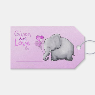Pink Elephant Baby Shower Given with Love Gift Gift Tags