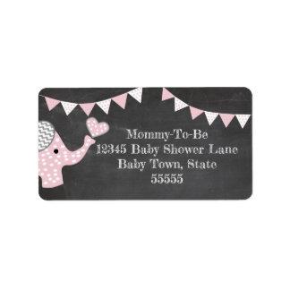 Pink Elephant Baby Shower Label