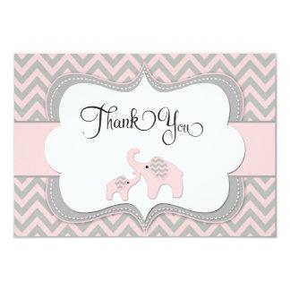 Pink Elephant Baby Shower Thank You Card 9 Cm X 13 Cm Invitation Card