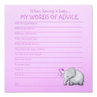 Pink Elephant Baby Shower Words of Advice for Baby Card