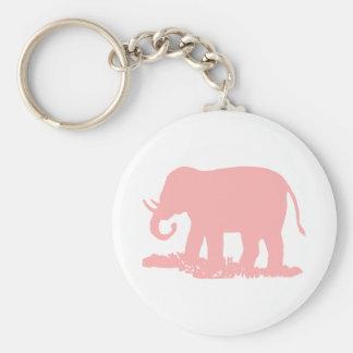 Pink Elephant Basic Round Button Key Ring