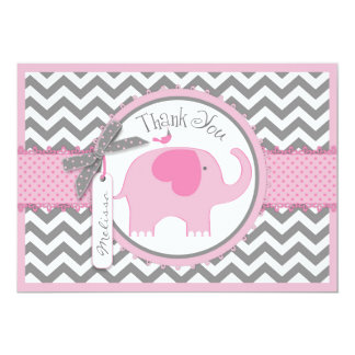 Pink Elephant Bird and Chevron Print Thank You Card