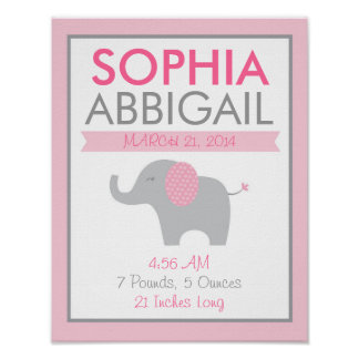 Pink Elephant Birth Stats Poster
