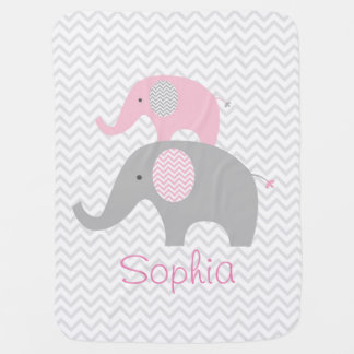 Pink Elephant Chevron Personalized Baby Blanket
