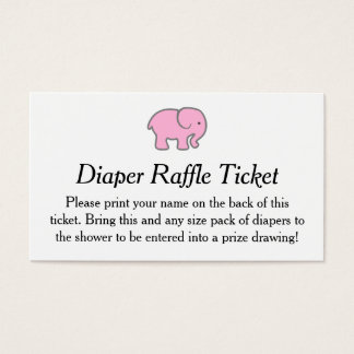 Pink Elephant Diaper Raffle Ticket Girls Shower