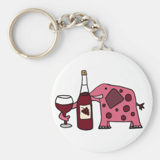 Pink Elephant Drinking Wine Key Ring