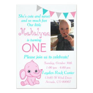 Pink Elephant First Birthday Party Invitation