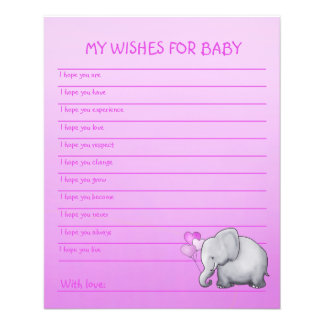 Pink Elephant Girl Baby Shower Wishes Template Flyer