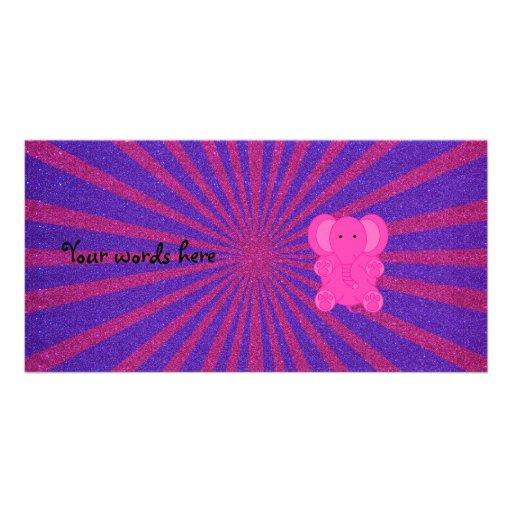 Pink elephant glitter sunburst photo greeting card