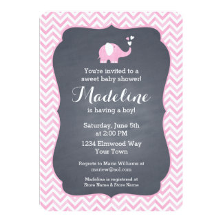 "Pink Elephant Heart 5"" X 7"" Invitation Card"