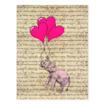 Pink elephant holding balloons