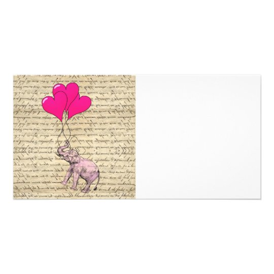 Pink elephant holding balloons photo greeting card