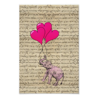 Pink elephant holding balloons poster