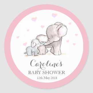 Pink Elephant Love Blue Baby Shower Sticker Round Sticker