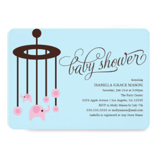 Pink Elephant Mobile Baby Shower Invitation | Blue