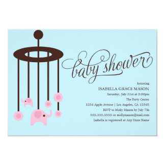 Pink Elephant Mobile Baby Shower Invitation | Blue