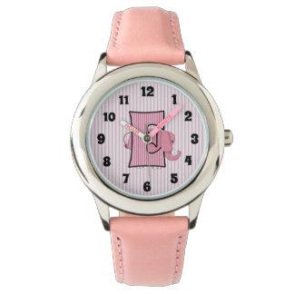 "Pink Elephant Monogrammed ""E"" Girls Watch"