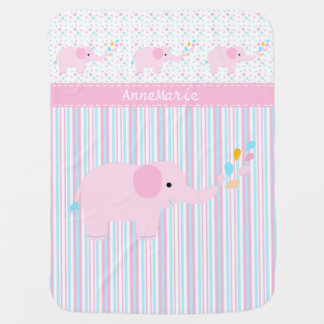 Pink Elephant on Dots and Stripes Buggy Blanket