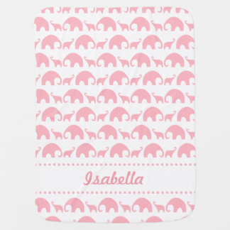 Pink Elephant Personalized baby girl blanket