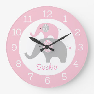 Pink Elephant Personalized Wall Clock