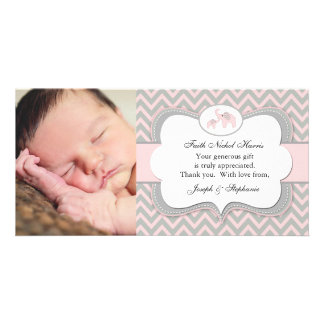 Pink Elephant Photo Baby Thank You Card
