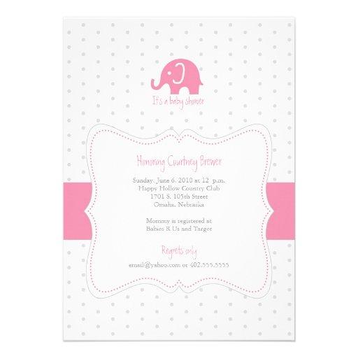 Pink Elephant Polkadot Baby Shower Invitation