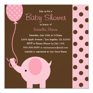 Pink Elephant & Polkadots | Baby Shower Invitation