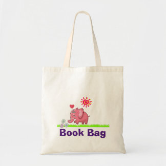 Pink Elephant Smelling Flowers Cute Drawing Tote Bag