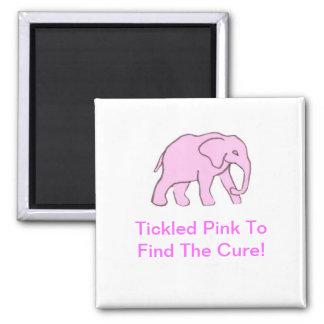 Pink Elephant Square Magnet