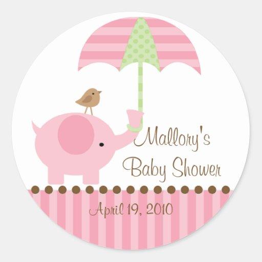 Pink Elephant Umbrella Baby Shower Sticker