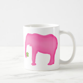 Pink Elephant with a Clover Coffee Mug